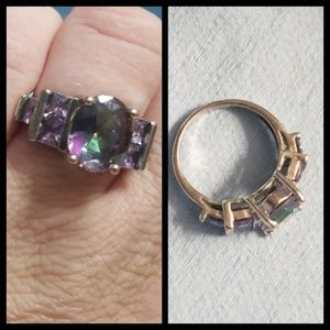 Sterling silver vibrant purple ring